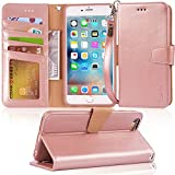#8: Arae Iphone 6s Plus Case, iphone 6 plus case, [Wrist Strap] Flip Folio [Kickstand Feature] PU leather wallet case with ID&Credit Card Pockets For Iphone 6 plus/6S Plus 5.5, rosegold