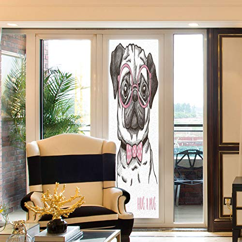 C COABALLA Waterproof Window Film,Pug,for Bedroom Living Room Kitchen,Cute Pug with Pink Bow Tie Oversized Glasses,24''x78''