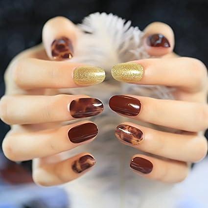 echiq café marrón brillante acrílico uñas postizas patrón de piedra corta uñas oro decoración uñas arte
