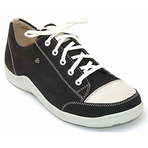 Finn Comfort Women's Soho Lace-up Sneaker,Black/Jasmine Buggy/Okapi,39 EU (US Women's 8 M) (Leather Soho Black)