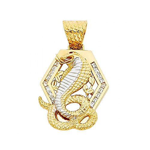 American Set Co. 14k Two Tone Gold CZ Viper Snake Pendant Charm