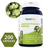 Pure Chromium Picolinate 800mcg 200 Capsules (NON-GMO & Gluten Free) Max Strength - Support Weight Management, Cardiovascular function, Sugar Metabolism - Made in USA - 100% MONEY BACK GUARANTEE!