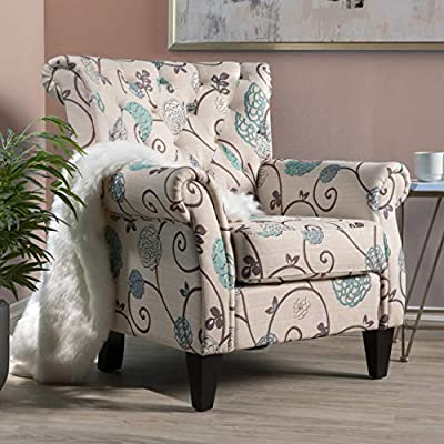 GDF Studio Solvang White and Blue Floral Fabric Tufted Chair