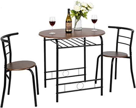 Amazon Com Vingli 3 Piece Dining Set Small Dining Table And 2 Chairs Kitchen Breakfast Dining Table Set With Metal Frame And Wine Rack Walnut Table Chair Sets