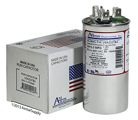 Made in The U.S.A. 5 uf//Mfd 370//440 VAC AmRad Oval Universal Capacitor Pack 2 Aerovox Z50S3705M Replacement