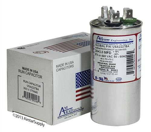 Made in The U.S.A. 2 30 3 uf//Mfd 370//440 VAC AmRad Round Dual Universal Capacitor Pack Goodman CAP030300440CS Replacement
