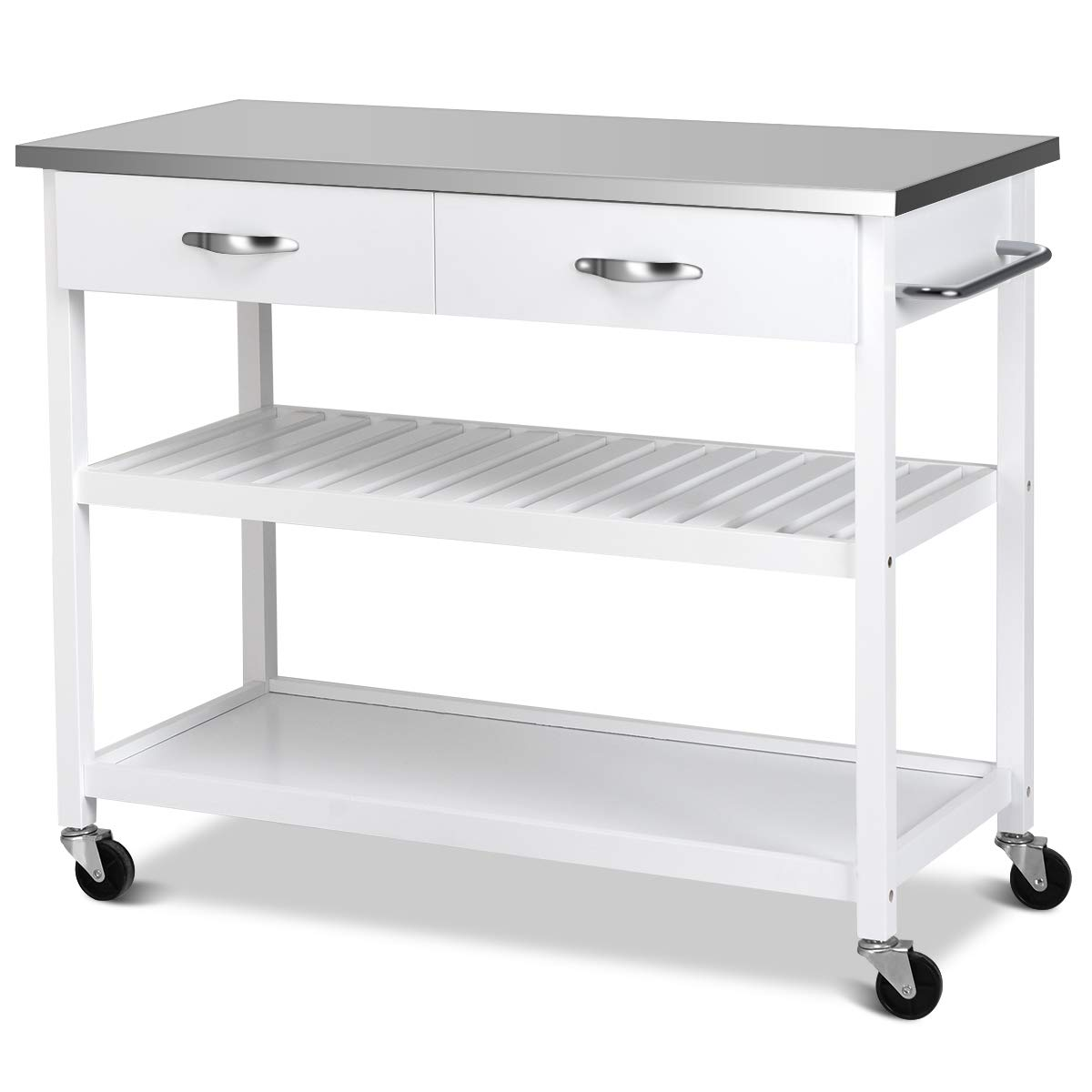 Giantex Kitchen Trolley Cart Rolling Island Cart Serving Cart Large Storage with Stainless Steel Countertop, Lockable Wheels, 2 Drawers and Shelf Utility Cart for Home and Restaurant, (White) by Giantex (Image #4)
