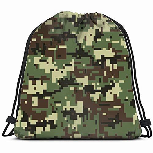 - Digital Camouflage Beauty Fashion Drawstring Bag Backpack Gym Dance Bag Reversible Flip Sequin Bling Backpack For Hiking Beach Travel Bags