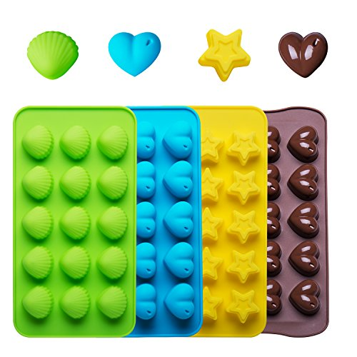WARMWIND Silicone Chocolate Molds, BPA-Free Silicone Gummy Candy Molds, FDA-Approved Ice Cube Trays,with Shape of Heart, Star, Shell(4 Set)