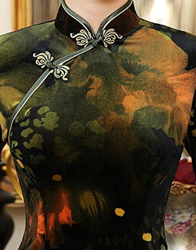 las Cheongsam por Acvip la vestido encima vestido de mujeres manga de tradicional media rodilla multicolor chino Uwqw6v