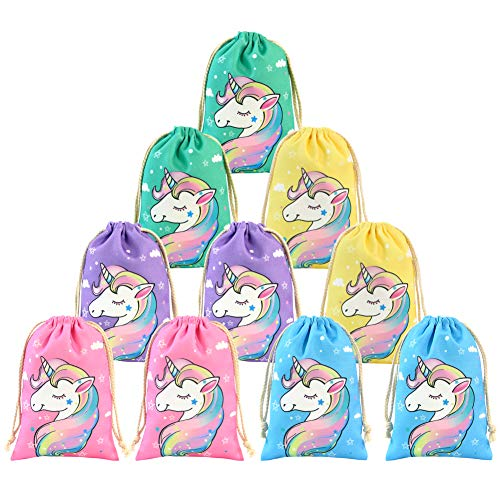 QtGirl Unicorn Party Favor Bags, Goodie Bags Drawstring Treats Bag for Girls and Kids Birthday Party Gifts Pack of ()