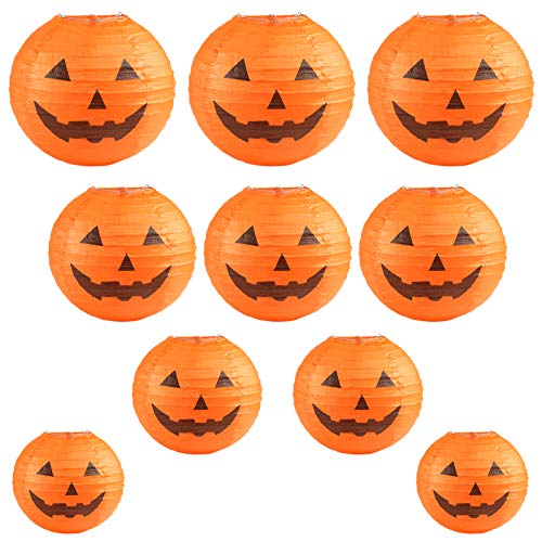 Kesoto Halloween Jack-O-Lantern Paper Lanterns Halloween Pumpkin Hanging Paper Lantern for Home Outdoor Decoration, Multi-Sized, Pack of -