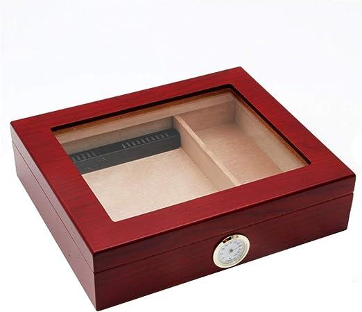 Humidores de Cigarros Caja de puros, caja humectante de madera de cedro, caja de puros de madera maciza con humidificador e higrómetro. Tapa de vidrio de humedad y temperatura constante, sello engrosa: