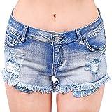 Foxy Grey Denim Shorts | Stretchy Shorts for Women | Jean Shorts for Teen Girls | Frayed Hem | Medium Wash Medium