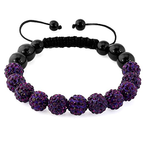 CharmSStory Disco Ball Bead Bracelet Purple 10MM Synthetic Crystal Inspired Handmade Adjustable ()