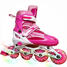 Children Adjustable Inline Skates Kids Rollerblades For Boys And Girls With Light Up Wheel And Gift Box