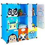 HOMFA Kid's Toy Storage Organizer, Bulk Storage 9 DIY Large Bins Closet Cabinet Display Modular, Multi-Functional Cubes for Toys, Clothes, Books etc, Cartoon Pattern Plastic