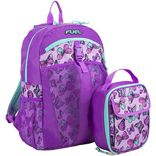 Purple Kids Bag - Fuel Backpack & Lunch Bag Bundle, Grape/Turqoise/Colorful Butterflies Print