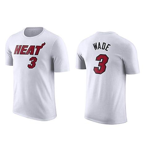 HYYSH Camiseta de Manga Corta NBA Heat New 3rd Wade White Basketball (Color : C, Size : XXXL)