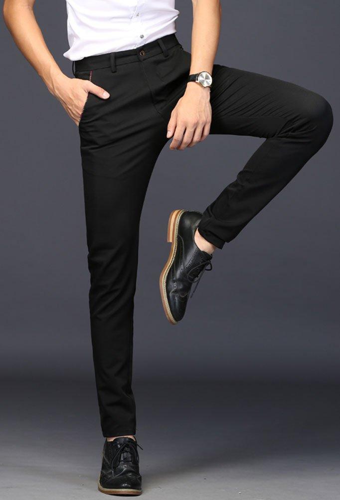 Plaid&Plain Men's Stretch Dress Pants Slim Fit Skinny Suit Pants 7104 Black 32 by Plaid&Plain (Image #2)