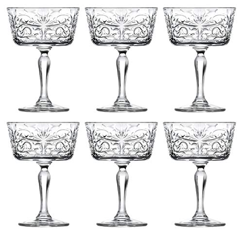 Champagne Glasses – Flute – Saucer – Belle Coupe – Set of 6 Glasses – Lead Free Crystal – Glass has Tattoo Design -9 oz…