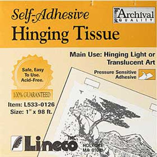 "Lineco Self-Adhesive Mounting Hinging Tissue, 1"" x 98"