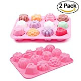 2 Packs 12 Cavity Silicone Flower Soap Mold Cake Bread Mold Chocolate Jelly Candy Baking Mould Muffin Pan