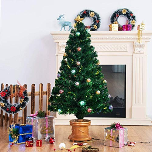 Safeplus Artificial Christmas Tree with Fiber Optic Filaments, Colorful Balls and Golden Star (4ft) by Safeplus (Image #5)
