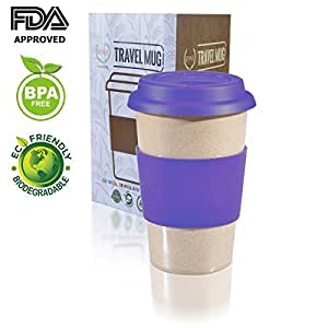 14 OZ 100% Organic Reusuable Travel Mug Purple TO GO coffee cup Biodegradable BPA Free FDA approved Leak proof silicone and heat resistant grip