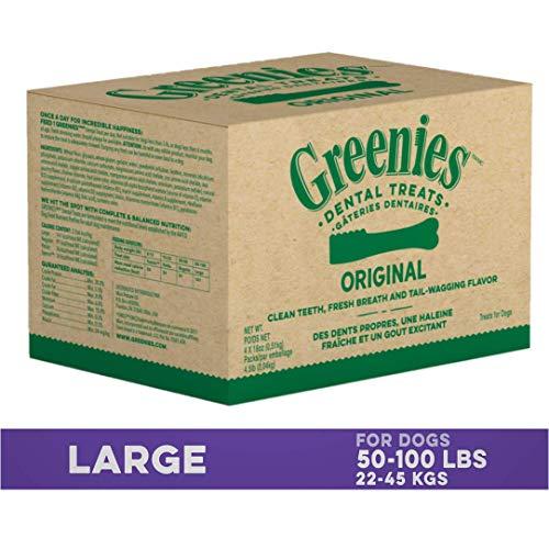 GREENIES Original Large Natural Dog Dental Care Chews Oral Health Dog Treats, 12 oz. Pack (48 Treats)