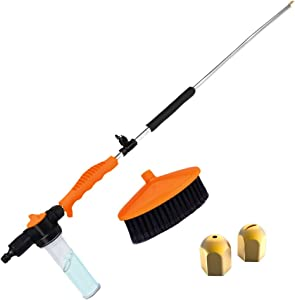 Brizer Garden Hose Sprayer for High Pressure Power Washer Wand – 30 Inch + 9 Inch Long Extendable Sprayer, Hose Nozzle, for Car Washer, Window Water Cleaner, Glass Cleaning Tool, 2 Tips (Orange)