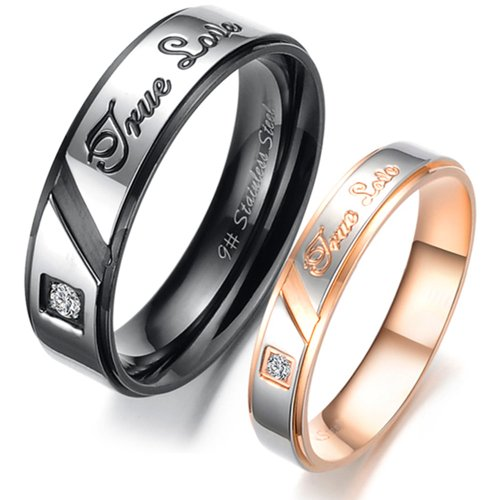 U2U Jewelry Stainless Steel Engraved Clear CZ Solitaire Prong Couples Engagement True Love Wedding Bands Rings For Men and Women (Black, 10) -