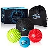 Deep Tissue Massage Ball Set - for Trigger Point Myofascial Release, Foot Reflexology, Plantar Fasciitis – Physical Therapy Mobility Balls – Foam Roller Ball, Spiky Ball, Lacrosse Ball