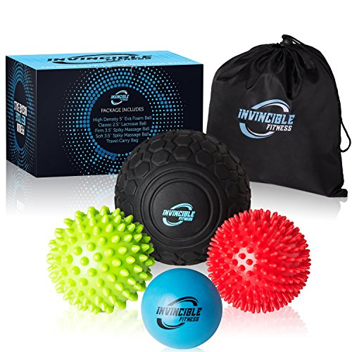 Deep Tissue Massage Ball Set - for Trigger Point Myofascial Release, Foot Reflexology, Plantar Fasciitis – Physical Therapy Mobility Balls – Foam Roller Ball, Spiky Ball, Lacrosse Ball by Invincible Fitness