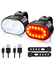 USB Rechargeable Bike Lights Set, Ultra Bright 2 LED Front and Back Rear Bicycle Light, IPX5 Waterproof Mountain Road Cycle Headlight and Taillight Set for Men Women Kids (4/6 Modes)