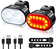 USB Rechargeable Bike Lights Set, Ultra Bright 2 LED Front and Back Rear Bicycle Light, IPX5 Waterproof Mounta