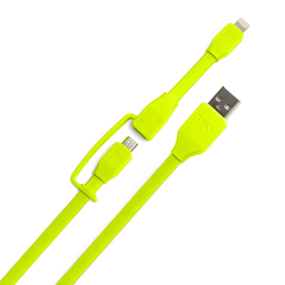 Tylt Syncable-Duo 1' Charge and Sync Cable with Lightning & Micro USB Connector for iPod/iPhone/iPad, Green by Technocel (Image #4)