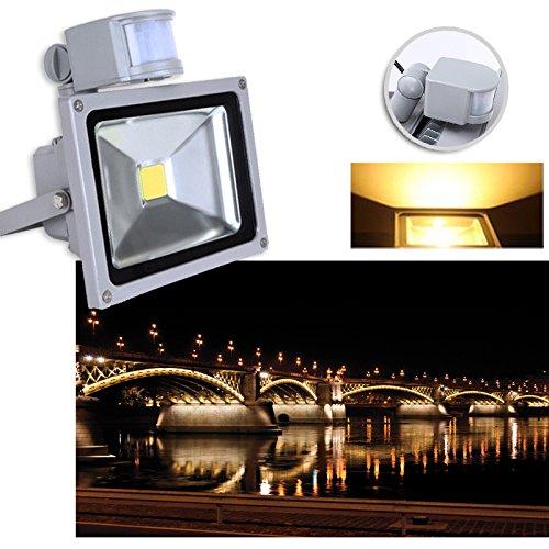 VINGO®10W 20W 30W 100W Warmweiß Kaltweiss LED Strahler Fluter Außen Leuchte Bewegungsmelder Sensorlicht mit Bewegungsmelder (20W Warmweiß)
