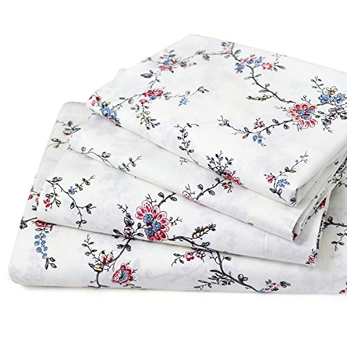 FADFAY Sheet Set Queen Farmhouse Bedding 100% Cotton Hypoallergenic Floral Bedding Shabby Beige Roses Peonies Bouquet Deep Pocket Fitted Sheet 4-Pieces Queen