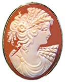 Cameo Brooch Pendant, Italian Conch Shell Master Carved, Autumn Love Sterling 18k Gold Overlay