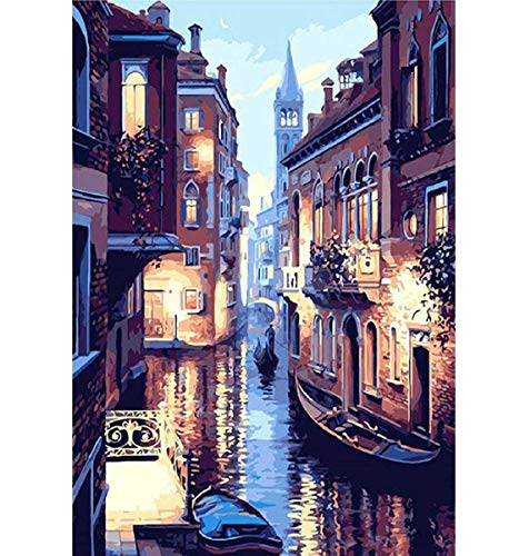 Barlingrock Full Drill Diamond Paintings by Number Kits for Adults, Venice Water City 5D DIY Pasted Rhinestone Painting Arts Craft Home Wall Decor for Livingroom Bedroom Decoration 30x40cm/12x16