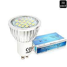 Elinkume 5.5W LED Gu10 Light Bulb 110V, Day White 6000K, 120 Degree Beam Angle, Undimmable LED Soptlight bulb (20 Pack)