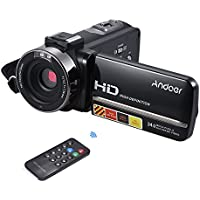 Camera Camcorder, Andoer HDV-3051STR Portable 24MP Digital Video Camera 1080P Full HD with Night-shot 3.0 Rotatable LCD Touch Screen 16X Digital Zoom with Hotshoe for External Microphone