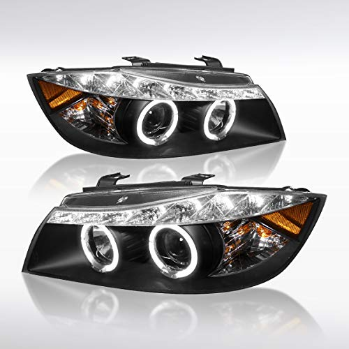 (Autozensation For BMW E90 3-Series 4Dr Black LED Halo Projector Headlights Pair)