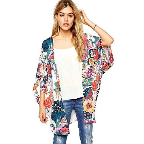 Tongshi Las mujeres ocasional de la impresión floral del kimono suelta Cardigan gasa remata la blusa color