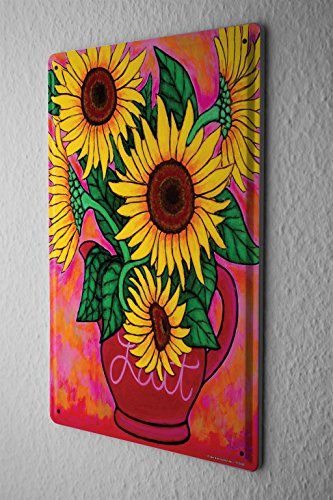 Tin Sign Plants Decoration Sunflower Vase