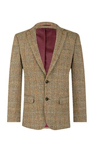 (Harris Tweed Mens Brown Windowpane Tweed Jacket Regular Fit 100% Wool Notch Lapel-42R)