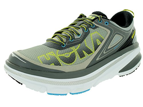 HOKA ONE ONE Mens Bondi 4 Shoe (11.5, Grey/Citrus)