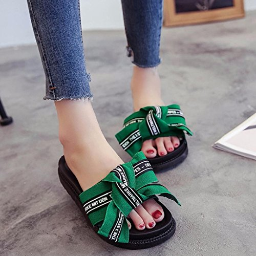 Inkach Femmes Wedges Sandales - Mode Été Flips Flops Sandales Bowknot Plage Pantoufle Chaussures Vert