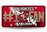 bling 49ers license plate frame - NFL San Francisco 49ers Bling #1 Fan Metal Auto Tag Plate, 12 x 6-Inch, Silver